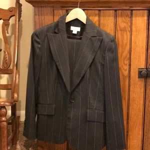 Ann Taylor Gray Suit Jacket and Pants